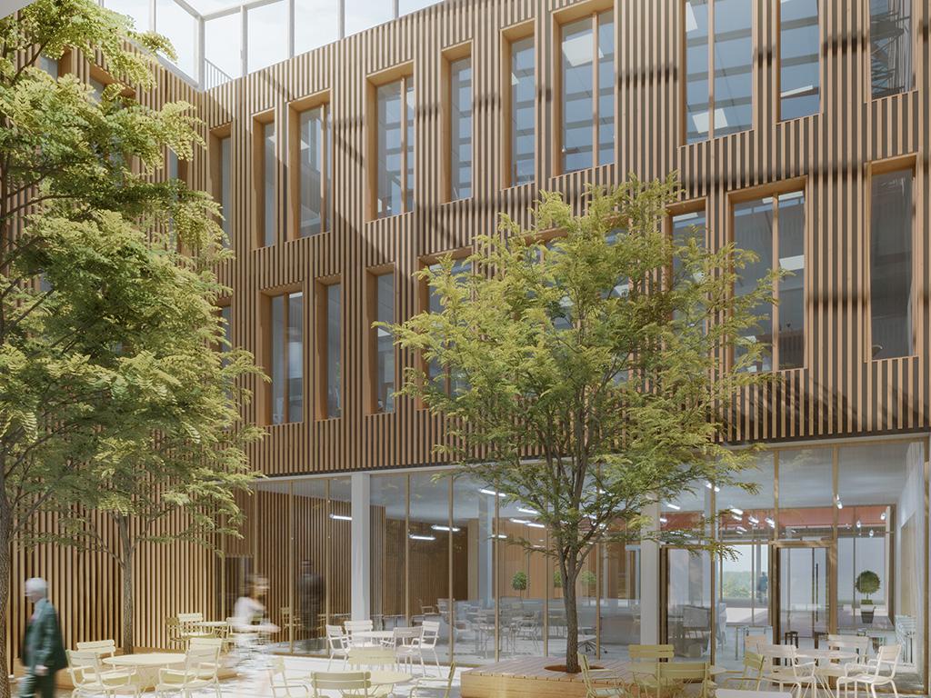 Siège de laCaisse d'Épargne de Bourgogne Franche-Comté avec réalisation attenante d'un parking bois mutualisé